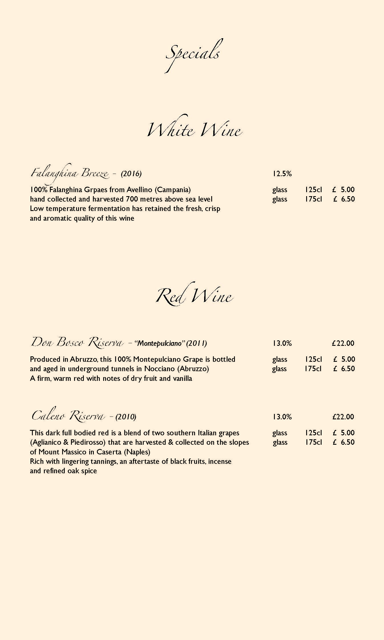 Rossini Menu
